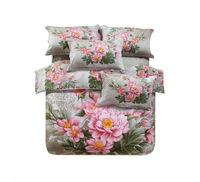 3D printed pink flowers green bedding sets 4pcs for king queen size 100cotton duvet quilt bed covers linen bedsheets bedclothes