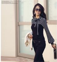 2015 Fashion Women's Ladies Female Clothing Long Puff Sleeve OL Turtleneck Stripes Cotton Tops T-Shirt Size S-XXL  Free Shipping