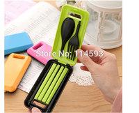 Kids's Gift Separable PVC Spoon Fork Chopsticks Plastic Cutlery Set Travel Camping Picnic Necessity Kit Portable Tableware