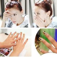 16pcs Foil Armour Nail Art Sticker Gel Nail Patch Manicure Set Golden Black