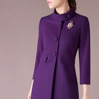 Elegant new arrival women wool formal trench coats ,winter long coats winter purple ,rose color Q79