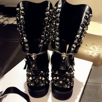Fashion Women Genuine Leather  Boots Rivets Cowhide Martin Boot Winter Boot