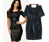 Retail 2014 new Summer woman fashion sexy lace embroidered fight skin tight dresses Boat Neck Short Sleeve Slim Dress