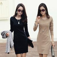Fashion Autumn Women Plus Size Long Sleeve Basic OL Temperament Dress Slim Hip Solid dresses 10211 Free Shipping