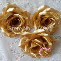 100Pcs/Lot Gold Roses Artificial Silk Flower Heads 10cm Wholesale Lots for Kissing Ball Flowers Pomander Wedding Arrangement