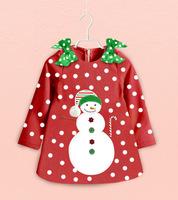 2014 New Baby Girls Christmas Dress Cute Bow Shoulders Long-sleeved Snowman Dot Dress Wholesale