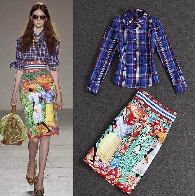S / s взлетно-посадочной полосы костюм комплект женщины пр шотландка печать рубашка цветочный юбка костюм юбка комплект