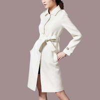 high quality elegant women winter trench coats white color ,formal long slim overcoats W4493