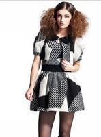 2014 new winter women's round neck sleeveless vest skirt plaid woolen skirt Slim was thin dress winter dress free shipping