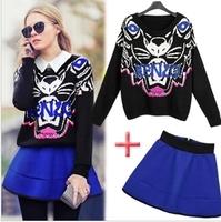 2014 autumn and winter fashion European Style Brand Designer women Tiger head loose sweater + waist tutu skirt suit women's sets
