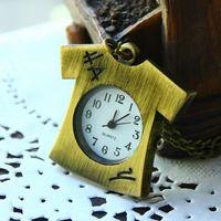 Fashion dropship cool T-shirt-shaped quartz clock necklaces pendants antique cartoon hot sale