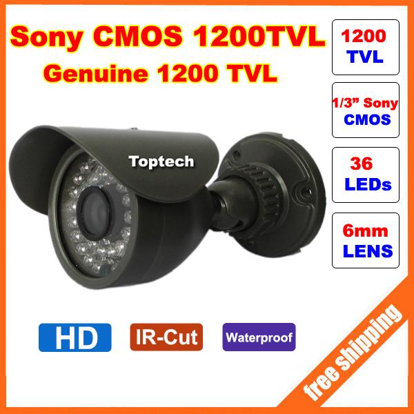 HD Original Sony CMOS 1200TVL IR 36 pcs Leds 30M night vision waterproof Security Bullet CCTV Camera with bracket Free shipping(China (Mainland))