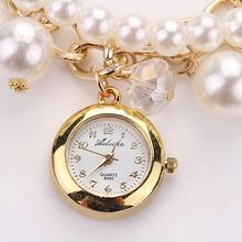 Women Faux Pearl Rhinestone Watches Quartz Analog Bracelet Wrist Watches Snow 2015 New Brand 5 Style