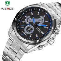 Original Japan quartz movement stainless steel watch 3ATM new WEIDE brand luxury watches men male clock military watches