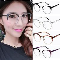 2015 Semi-rim half frame Women vintage Eyeglasses Frame adjustable nose pad retro oval frames clear lens oculos cat eye