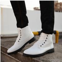 A136 High shoes men shoes leather boots  plus velvet winter new men's cotton-padded boots 45 yards British leisure shoes men