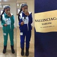 Women Sweatshirt Ballinciaga Harlem Printed Sport Suit 3 Piece Set  Women Hoody New 2014 Autumn Thick Tracksuits