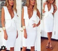 014 The explosion leisure fashion V Neck falbala tight tuxedo sales bandage mini bodycon dress frozen dress elsa dress