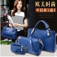 2014 European and American fashion handbags new handbag crocodile pattern elegant three-piece women's singles shoulder bag wild