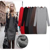 Bodycon winter dress women autumn plus size slim long sleeve A-line dresses casual warm dress