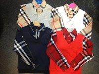 2014  New  Wholesale  Brand  fashion  spring/autumn  children's  sweatshirts  long  sleeve plaid  pattern  boy's  sweatshirts