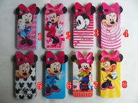 10pcs/lot Newest 8disign Mickey Minnie Mouse Soft TPU silicone Skin Case Cover for iphone 4 4s 5G/5S with ear+Free Shipping