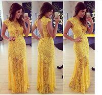 2015 fashion vestido de renda longo Prom dress elegant women sexy lace Hollow out backless Maxi evening party long Dress yellow