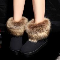 slip-resistant waterproof female snow boots with fur
