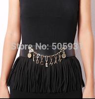 European Skirt Style Tassel Letter Belt Adjustable Fashion Women Accessories