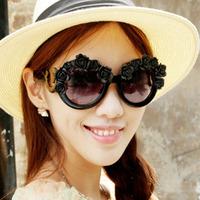 Super nice hand made flower big round frame sunglasses Vintage retro sun glasses 2014 new fashion sun glasses oculos de sol 011