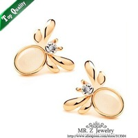Factory Price Fashion Cute Opal Litte Bee Stud Earrings 10pairs/lot Free Shipping