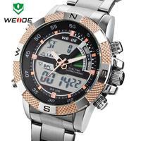 2014 Original WEIDEI Watches Men LED Luminous Analog Digital Dual Time Display Date Week  3ATM Stainless Steel Wristwatch