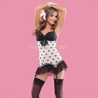 Fashion Hot Sexy Lingerie Women Lady Lace Mini Dress Sleepwear Underwear Babydoll With G-String Set Black White