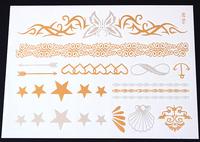 Top Quality MetallicTattoos Beach Temporary Tattoo Flash tattoos 4 pcs/lot  SKU: FT-05