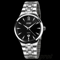 Wristwatch Round Shape 30M Waterproof Resistant Quartz Movement Men Dress Watch Calendar Stainless Steel