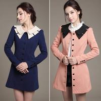 New 2014 Fashion Autumn Slim Turn-down Collar Winter Women Parka Elegant Single Breasted Winter Women Jacket