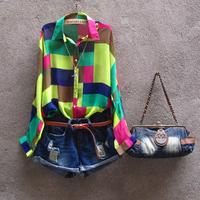 2014 Free shipping high quality spring and autumn  women  V neck squares long sleeve plaid pop style chiffon bright plaid shirt