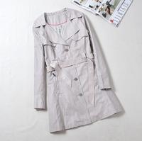 high fashion designer brands 2014 new Women's Coat Long Sleeve Drawstring Long Trench Coat For Women Plus Size