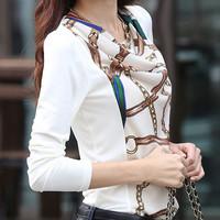 2014 New Fashion 100% cotton patchwork basic shirt top plus size slim t-shirt female fashion long-sleeve shirt