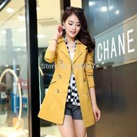 2014 New Hot Selling women's windbreaker Korean fashion Commuter  women trench Wholesale S-XXL