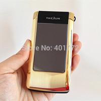 Original TKEXUN Flip Touch Screen Metal Phone Dual Screen Clamshell Fashion Business Cell Phones Old Poeple/ Man Senior Phone