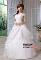 2014 sweet princess bride feather shoulder inclined shoulder flowers Big tail long dress