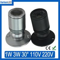 5x 1W 3W black or Silver aluminum Mini LED spot downlight counter display case cabinet spotlight Jewelry store lamps AC85-265V