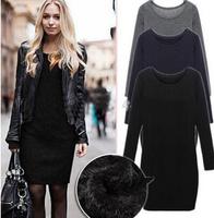 2014 autumn and winter  Europe Fashion Plus Size  women Slim long-sleeved woolen dress Thick Velvet Winter Warm dress