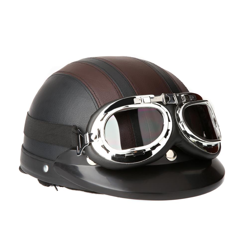 Men Women Motorcycle Helmet Bike Bicycle Helmet Scooter Open Face Half Leather Helmet with Visor Goggles Retro 54-60cm(China (Mainland))