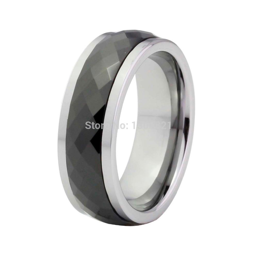 Alianzas de boda negro del tungsteno con diamantes