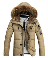 2014 Men Warm Fur Collar Hooded Parka Winter Thick Duck Down Coat Outwear Down Jacket