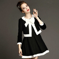 2014 Autumn Winter Fashion Luxury Black White Contrast Color Big Bow Covered Button Short Suit With Tank Dress for Oiffce Lady