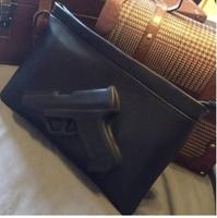Woman Desigual Black Handbag Women's Pistol Bags Fashion Day Clutches Envelope Bag Preppy Vintage Zipper Messenger Gun 3D Bags