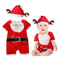 2014 New Baby Boys and Girls Christmas Hooded Rompers Baby Clothing Wholesale